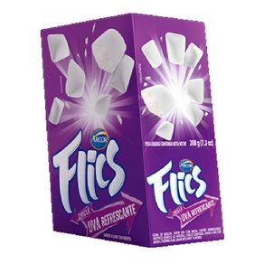 Chiclete Flics Uva Refrescante 12 cartelas